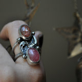 BLEMISHED, Size 9, Stargazing, Confetti Sunstone and Rhodochrosite, Sterling and Fine Silver