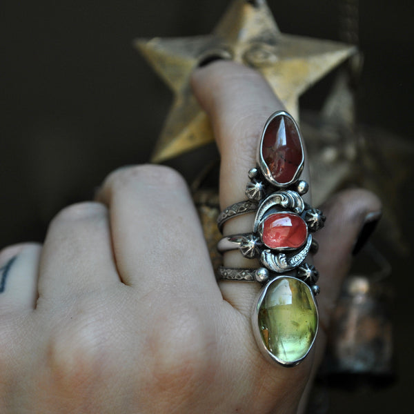 Size 9, Star Fire , Rhodochrosite and Golden Apatite, Sterling and Fine Silver