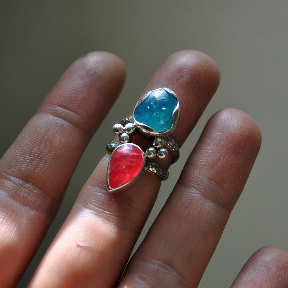 Size 4, Jewels of Fire & Water, Gem Rhodonite and Gem Apatite, Sterling and Fine Silver