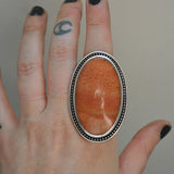 Size 9.5, HALLOWEEN EDITION, Monster Aventurine, Sterling and Fine Silver Ring