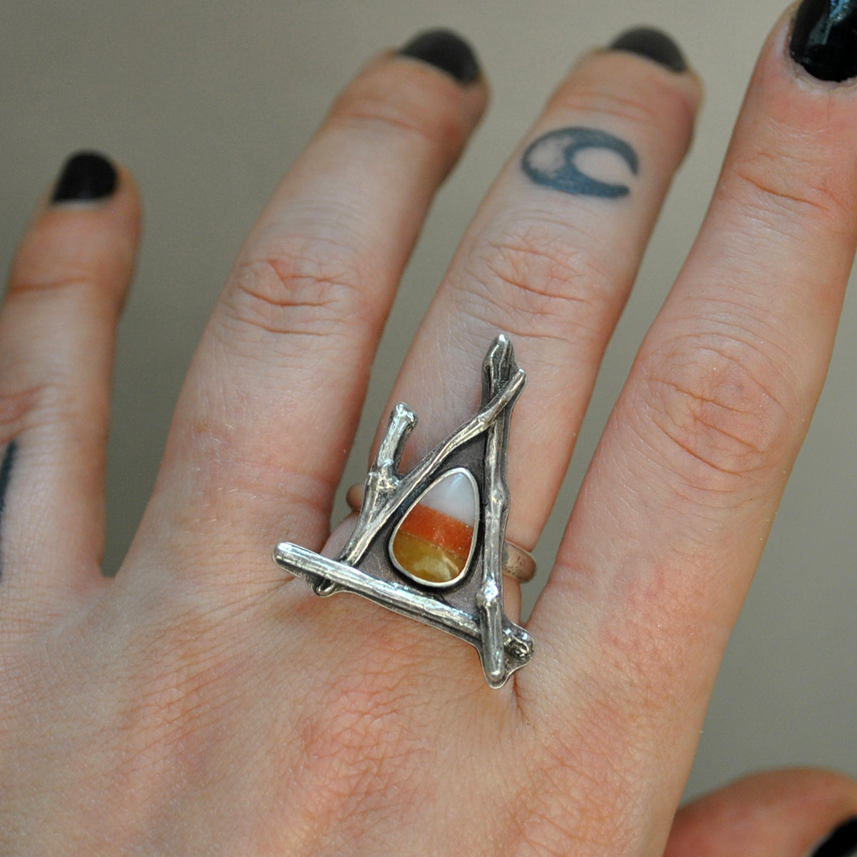 Size 7.75, October House, Candy Corn Ring, Sterling and Fine Silver