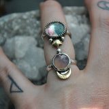 Size 6.5, Moon&Star sets, Tourmaline under Quartz and Pink Chalcedony, Sterling and Fine Silver