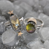 Size 9.75and10, Moon&Star sets, Star Rutile Quartz and Tourmaline Quartz, Sterling and Fine Silver