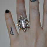 Custom Order!! AMETHYST, Holy Crest Ring, Sterling and Fine Silver and Brass