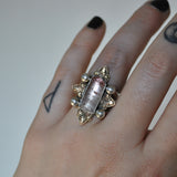 Custom Order!! TOURMALINE, Holy Crest Ring, Sterling and Fine Silver and Brass