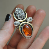 Size 5.5 - Gravedigger, Amber and Serpent, Sterling and Fine Silver Ring