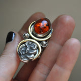 Size 8 - October Sky - Amber Serpent Ring, Sterling and Fine Silver and Brass