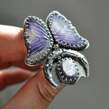 Size 7, Safe Passage, Amethyst, Sapphire, Sterling and Fine Silver
