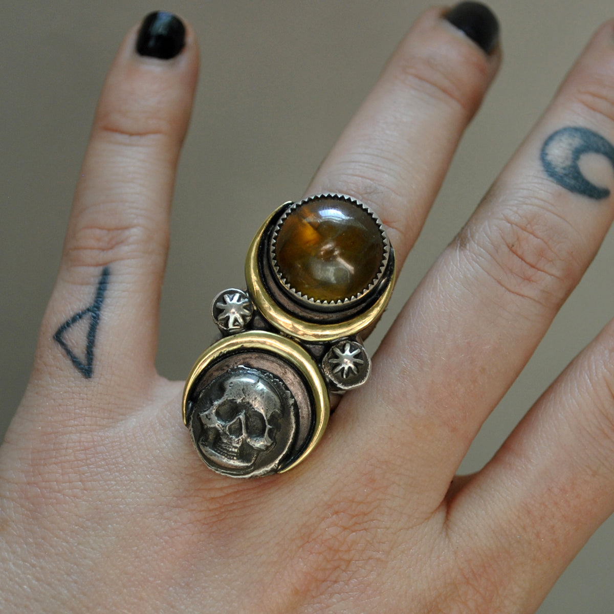 Size 6.5 - October Sky - Sphene Skull Ring, Sterling and Fine Silver and Brass