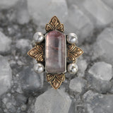 Size 5.5, Holy Crest, Natural Bi-Color Tourmaline, Sterling and Fine Silver and Brass