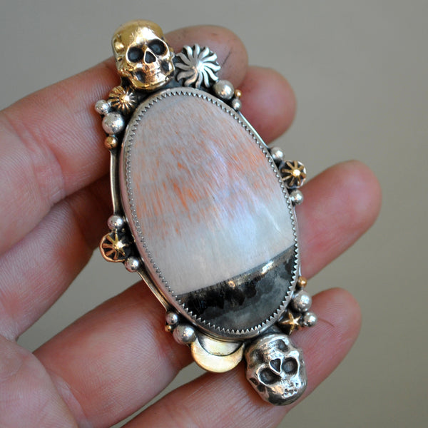 Size 7.5-8, Perpetuity, English Barite, Sterling and Fine Silver and Brass
