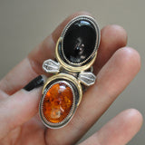 BLEMISHED - Size 8-8.5 - Gravedigger, Amber and Onyx, Sterling and Fine Silver Ring
