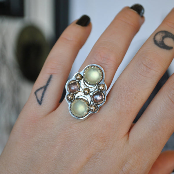 Size 6.75, Moon&Star deluxe SINGLE!, Prehnite and Spinel, Sterling and Fine Silver and Brass