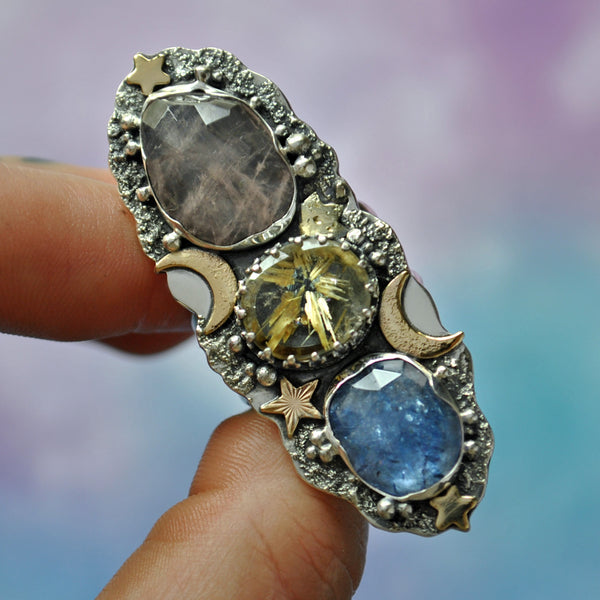 SIZE 9, Dreamscape, Stardust ring, Star rutile/Tanzanite/Morganite