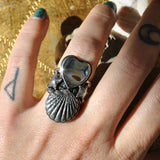 Size 7, Ocean Heart, Sterling and Fine Silver