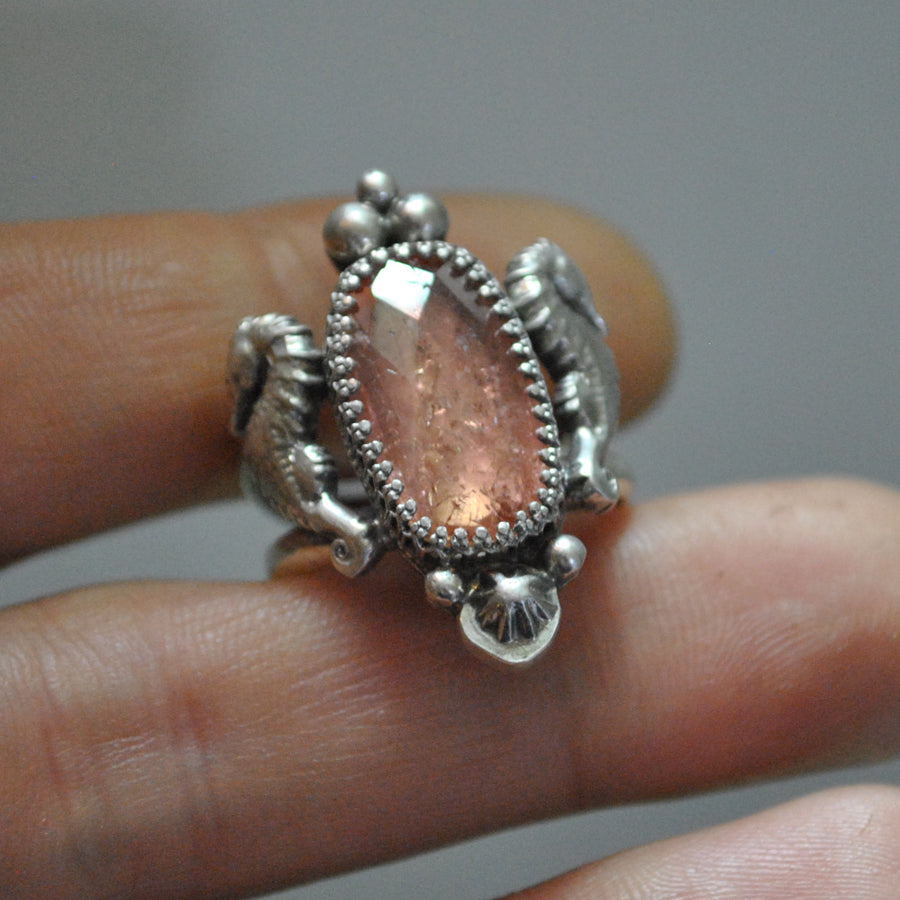 Size 7.25, Lady of the Sea, Seahorse Mermaid Ring, Imperial Topaz, Sterling and Fine Silver