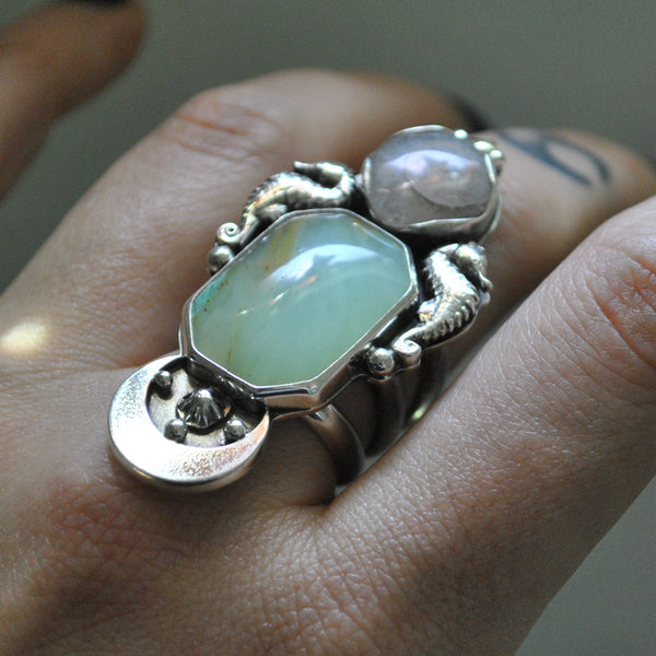 Size 7.5, Navigating by the Stars, Seahorse Mermaid Ring, Peruvian Blue Opal and Crystal Shell, Sterling and Fine Silver