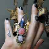 Size 6.5, Sky Empress, Sugilite and Sapphire and Rhodochrosite, Sterling and Fine Silver
