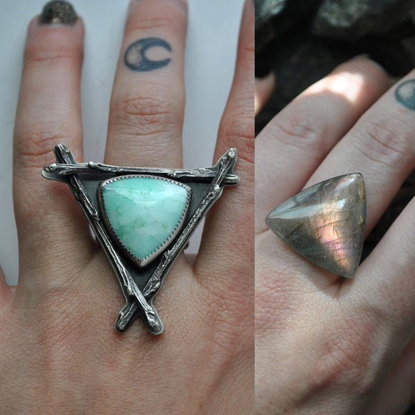 Custom Order!! Purple Labradorite, Witching Woods Ring OR Necklace, Sterling and Fine Silver