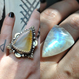 Custom Order!! MOONSTONE, Divination Ring, Sterling and Fine Silver and Brass