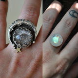 Custom Order!! MOONSTONE, Stargazing Oracle Ring or necklace, Sterling and Fine Silver and Brass