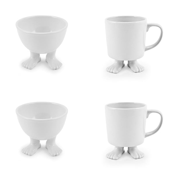 Ceramic Footed Bowls | Small | and White Footed Mugs SET Ceramic Sets Dylan Kendall