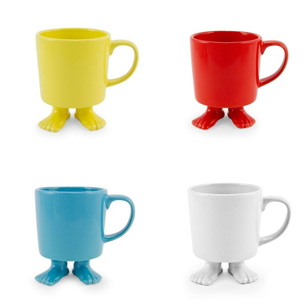 Ceramic Footed Mugs | Set | Four Colors Dylan Kendall Red Mix Mugs