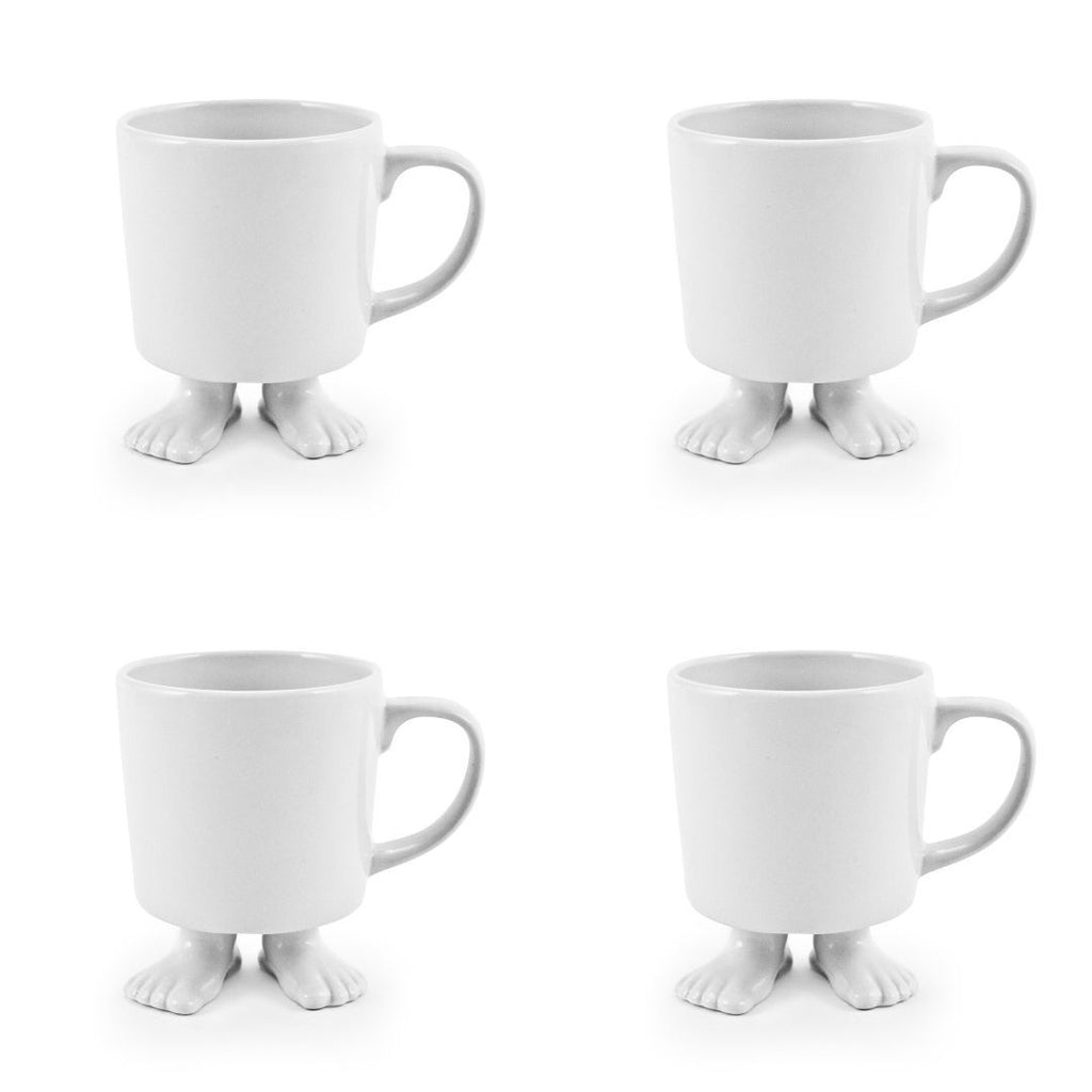 Ceramic Footed Mugs | Set | Four Colors Dylan Kendall White Mugs