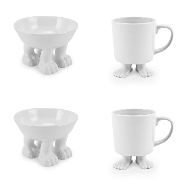 Ceramic Medium Cat Bowl and White Footed Mugs SET Ceramic Sets Dylan Kendall