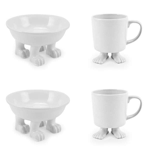 Ceramic Medium Dog Bowl and White Footed Mugs SET Ceramic Sets Dylan Kendall