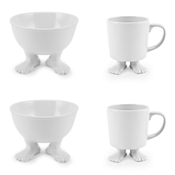 Ceramic Medium Footed Bowls and White Footed Mugs SET Ceramic Sets Dylan Kendall