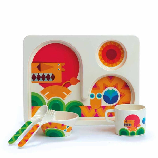 Kids Dishes | Bold Lion and Bright Snake: Eco Toddler Dishware 5 Piece Set Eco Toddler Dylan Kendall