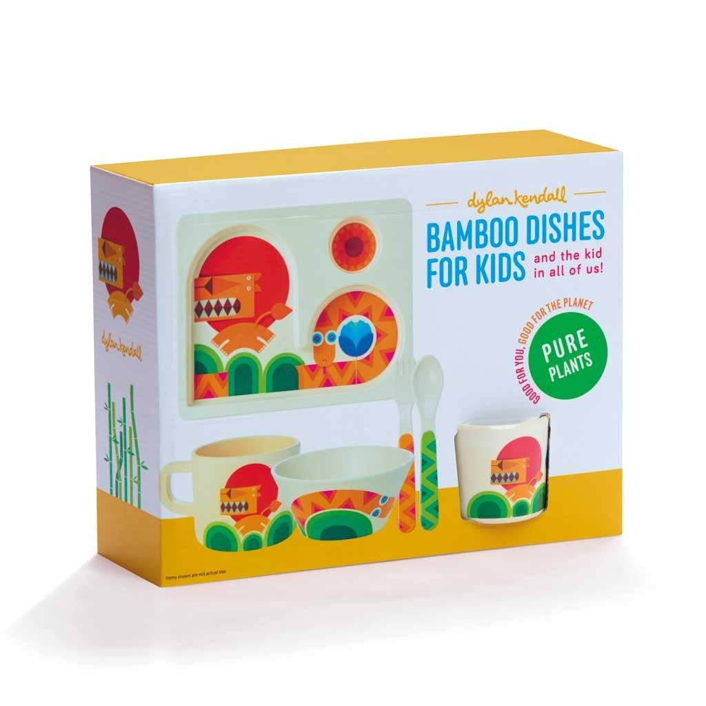 Kids Dishes | Bold Lion and Bright Snake: Eco Toddler Dishware 5 Piece Set Eco Toddler Dylan Kendall Gift box set