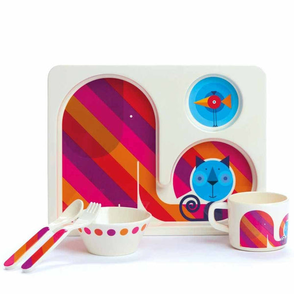 Kids Dishes | Rainbow Elephant and Sleepy Cat - Eco Toddlers 5 Piece Set Eco Toddler Dylan Kendall