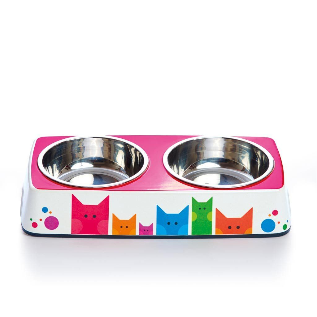 Pet Bowl | Company of Cats: Eco Double Feeder Pet Bowl with Stainless Steel Liner Eco Pet Dylan Kendall
