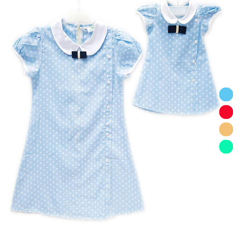 Dress Polka Blue (Kids/Mom)