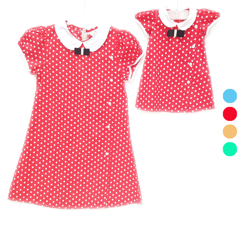 Dress Polka Red (Kids/Mom)