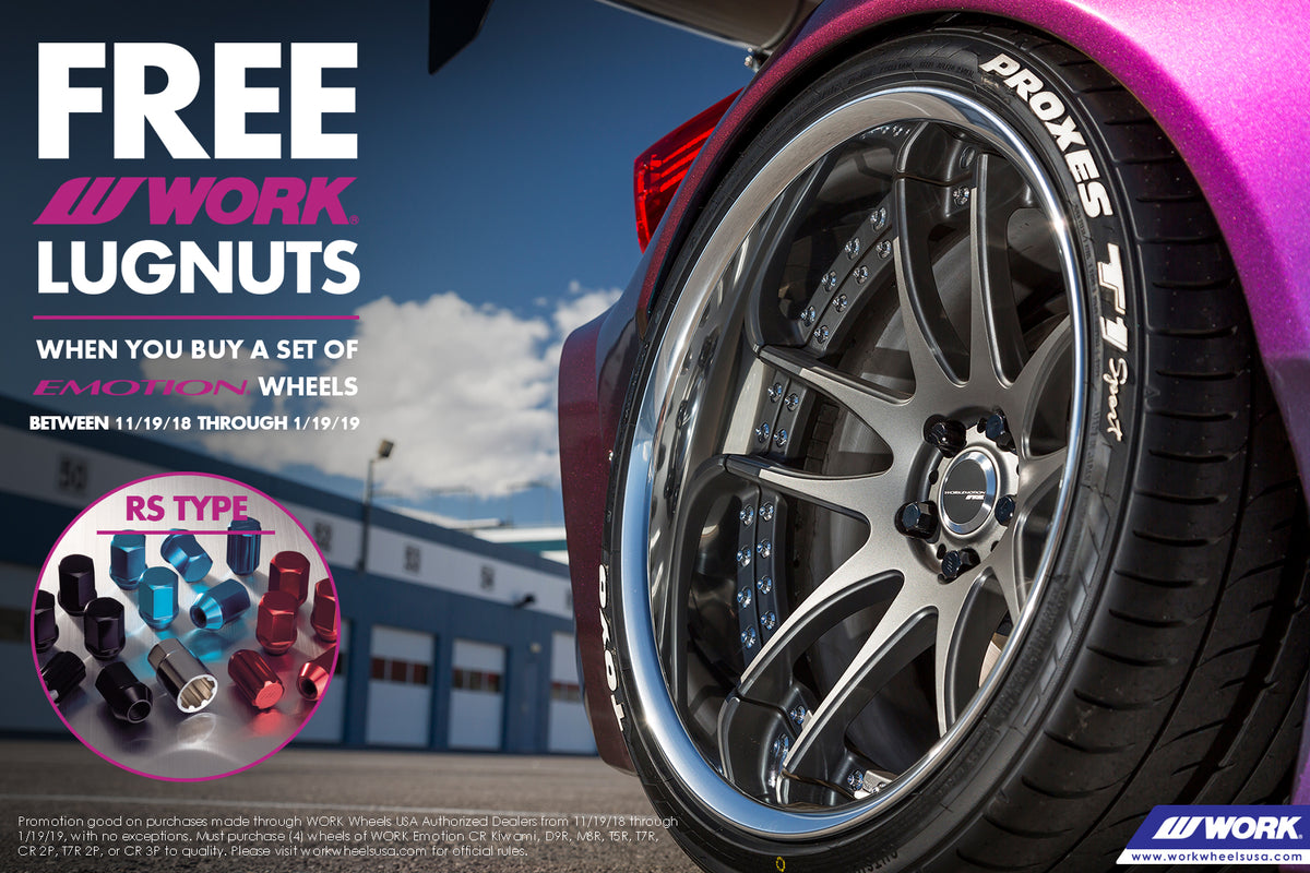 WORK Wheels Free RS Lug Nuts Promotion