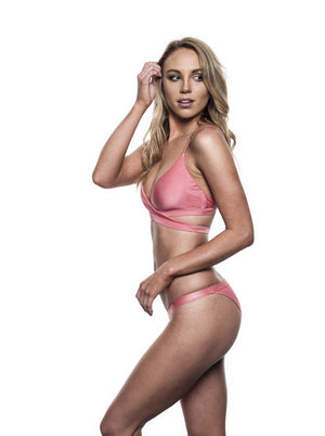 Reset swimwear that's a wrap bikini in flamingo pink