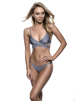 Reset swimwear that's a wrap bikini in shark silver