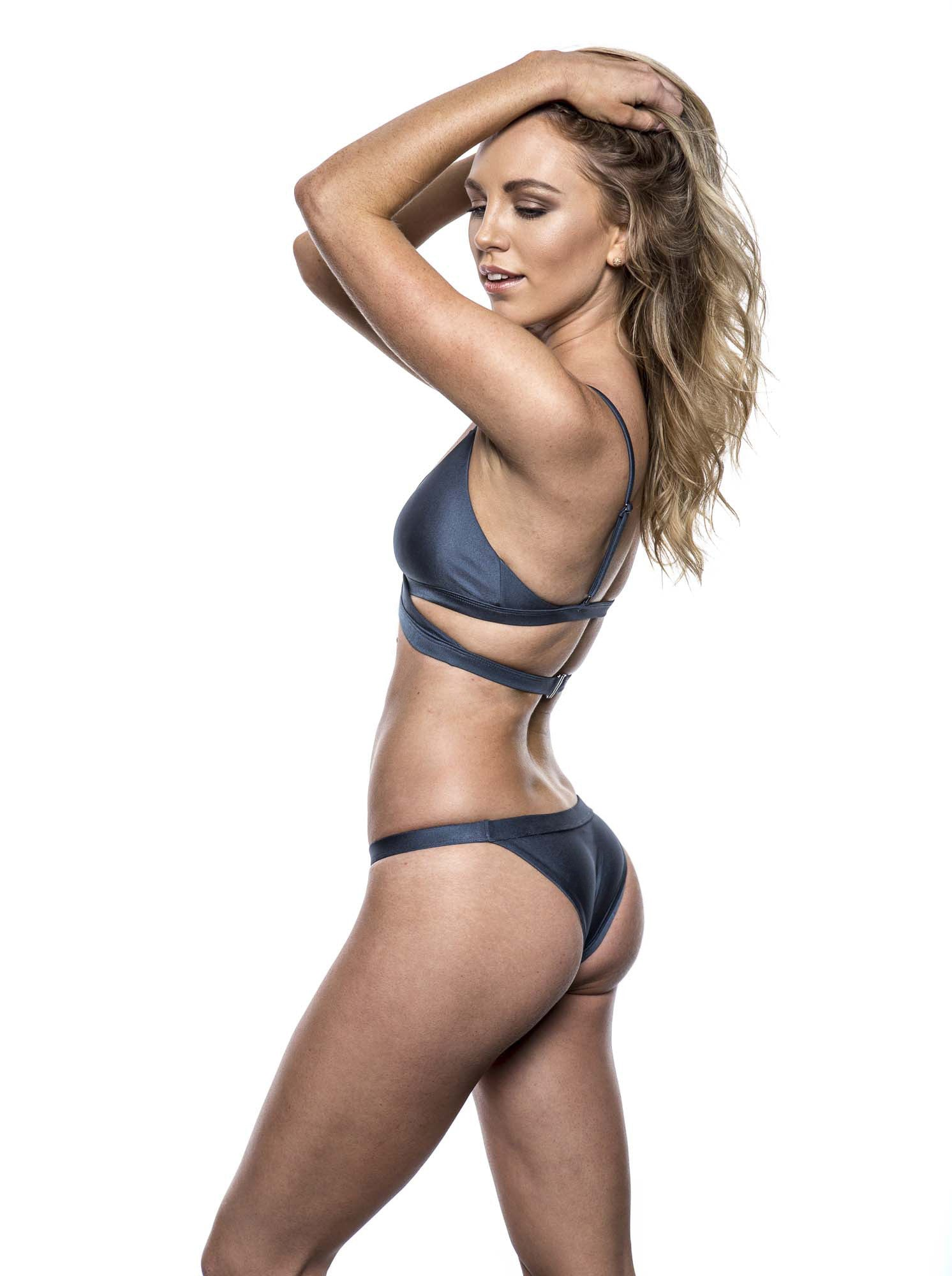 Reset swimwear that's a wrap bikini in steel blue