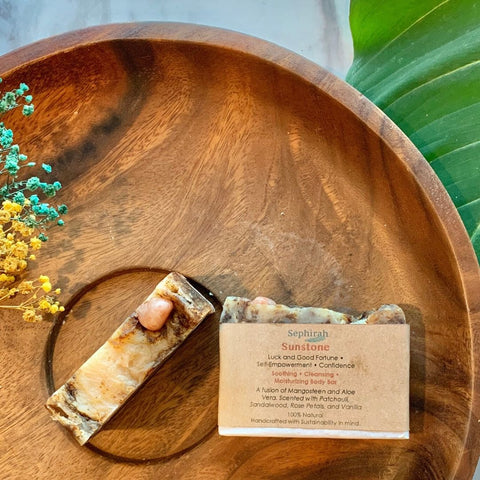 Artisanal Soap with Crystals by Sephirah - Sunstone