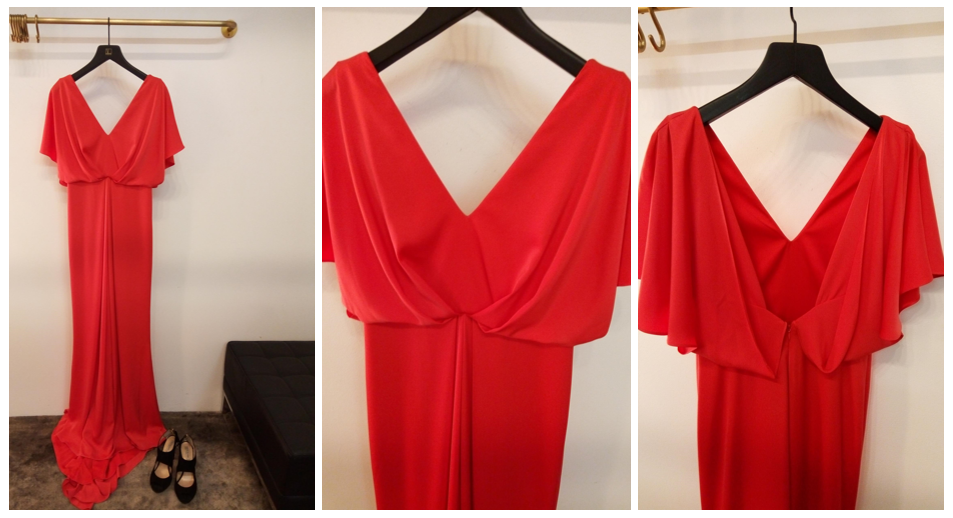 Sezin Karabulut red gown at Visette Boutique