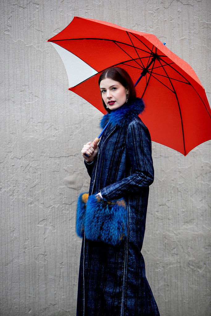 Suprema Navy Plaid and Fur Coat