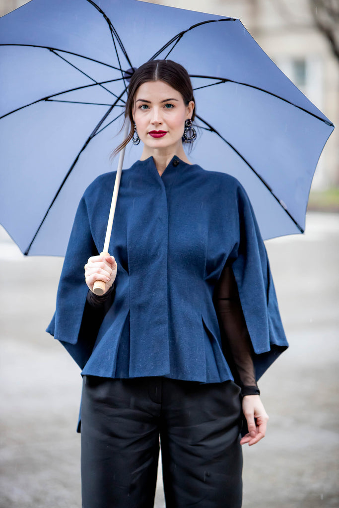 Ozlem Suer Navy Wool Mini Cape Coat