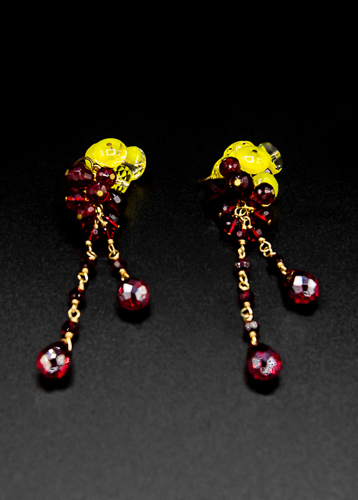 Namiko Abloom Red and Yellow Earrings