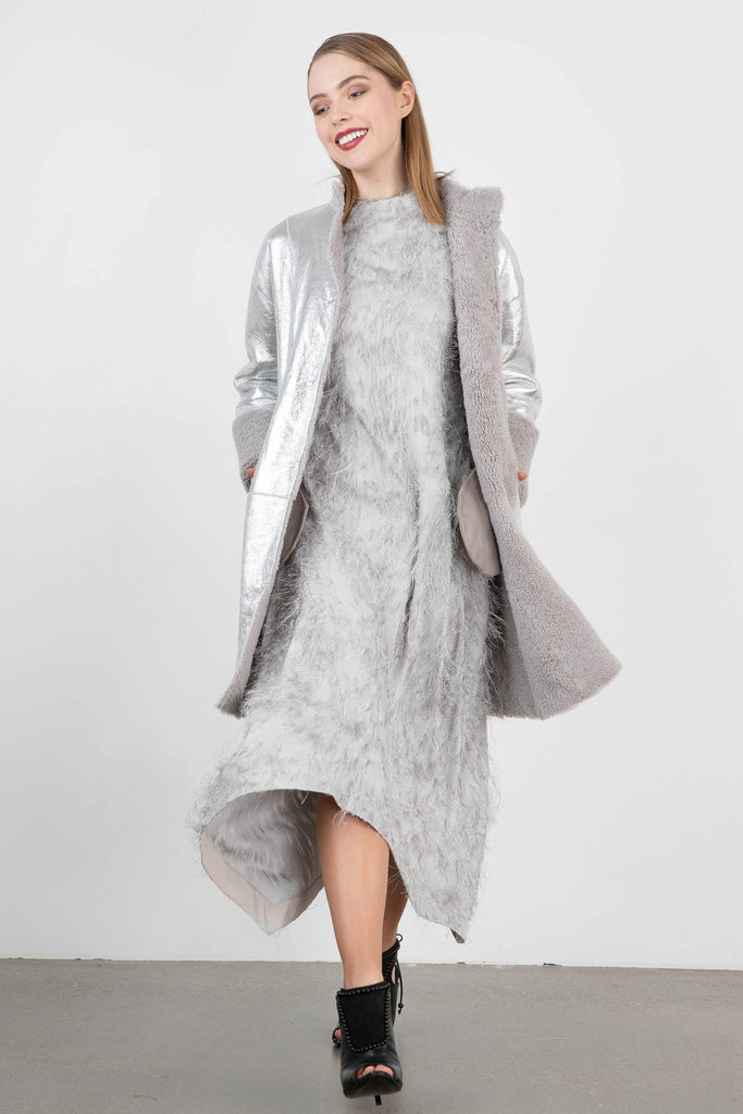 Tegin Metallic Suede Shearling Coat