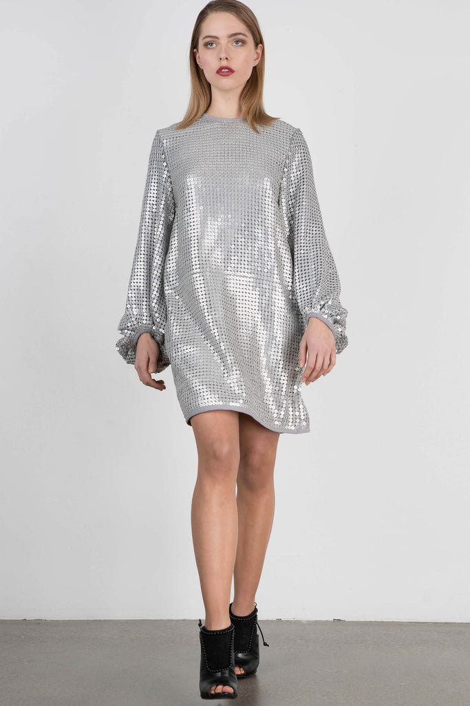 Exquise Long Sleeve Silver Sequin Shift Dress