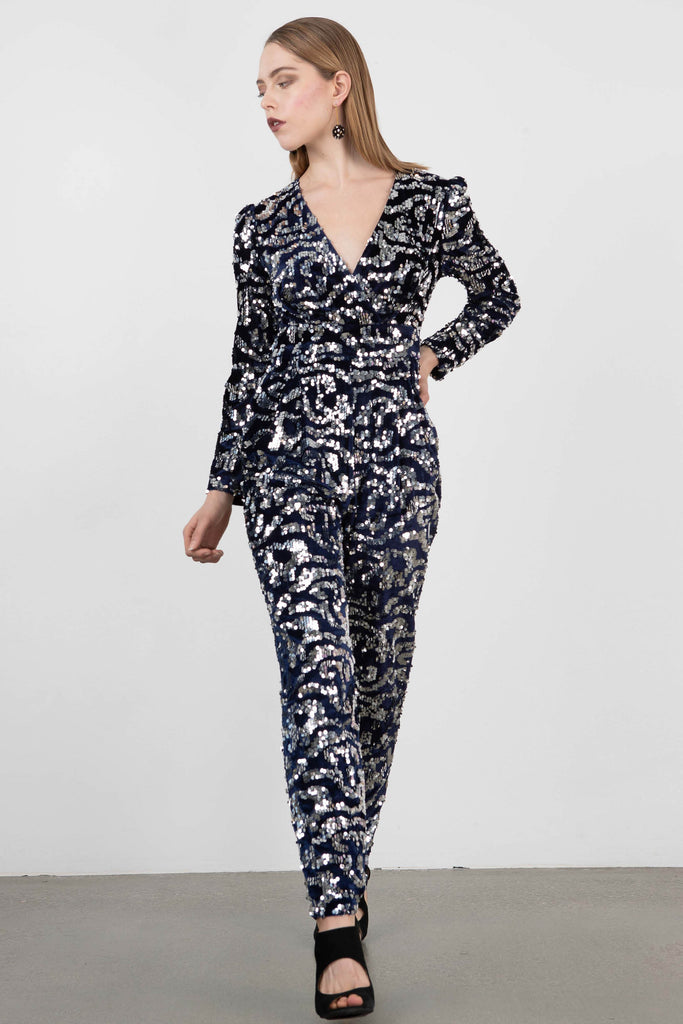 Exquise Velour & Sequin Jumpsuit