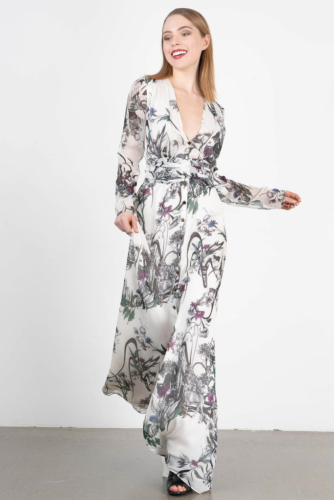 Owl by LMC Printed Silk Maxi Dress